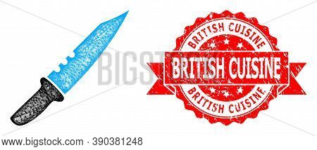Network Knife Icon, And British Cuisine Textured Ribbon Stamp Seal. Red Stamp Seal Has British Cuisi