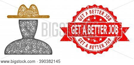Wire Frame Peasant Persona Icon, And Get A Better Job Rubber Ribbon Seal Imitation. Red Stamp Seal C