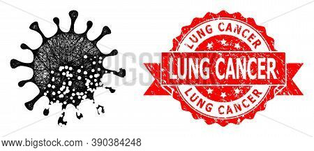 Wire Frame Damaged Microbe Icon, And Lung Cancer Grunge Ribbon Seal Print. Red Stamp Seal Contains L