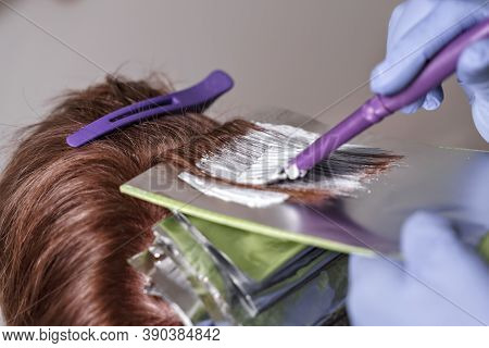 The Process Of Dyeing Red Hair With Foil. The Master Applies The Composition With A Brush To The Cli