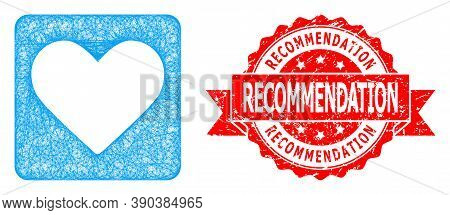 Net Love Heart Icon, And Recommendation Unclean Ribbon Stamp Seal. Red Stamp Seal Contains Recommend