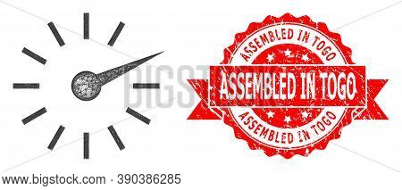 Wire Frame Clockface Icon, And Assembled In Togo Scratched Ribbon Seal Print. Red Stamp Seal Include