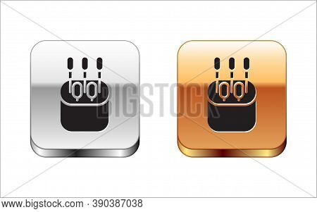 Black Cotton Swab For Ears Icon Isolated On White Background. Silver-gold Square Button. Vector Illu