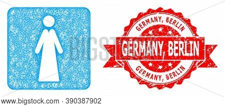 Wire Frame Lady Icon, And Germany, Berlin Dirty Ribbon Stamp Seal. Red Seal Contains Germany, Berlin