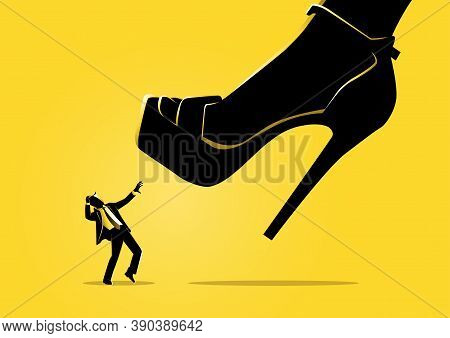 An Illustration Of A Woman Shoe Stepping On Businessman Concept