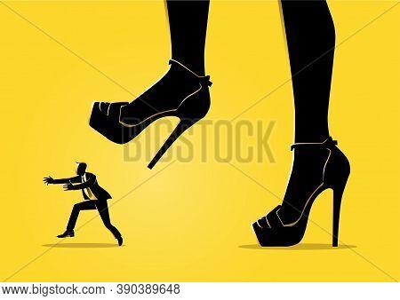 An Illustration Of A Businessman Running Away Under Female High Heels
