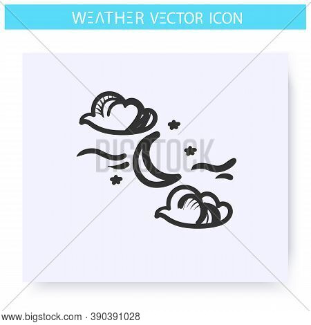 Night Cloudy Icon.hand Drawn Sketch. Partly Cloudy. Stars And Moon Behind Clouds. Moonlight. Night W