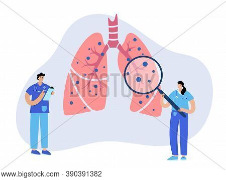 Coronavirus In Lungs. Respiratory System Disease. Patients Help And Doctors Consult In Pulmonology C