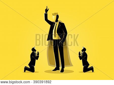 An Illustration Of Two Businessman Kneeling In Front Of A Boss