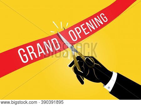An Illustration Of Businessman Holding Pair Of Scissors In Hand Cuts Red Tape, Grand Opening Concept