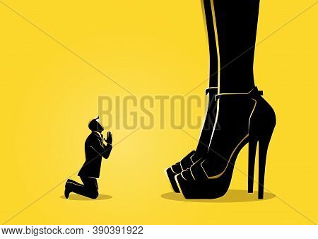 An Illustration Of A Businessman Prostrated Under Female Foot