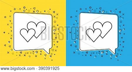 Set Line Heart Icon Isolated On Yellow And Blue Background. Romantic Symbol Linked, Join, Passion An
