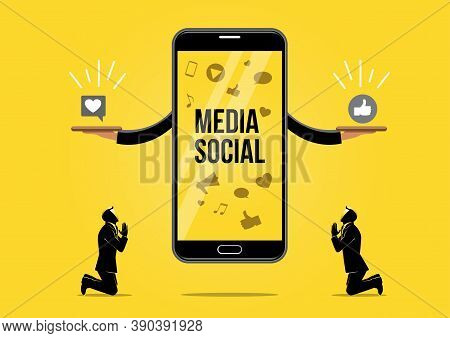An Illustration Of Businessman Praying For Love And Like. Prayer Mobile Phone Application