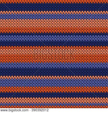 Vintage Horizontal Stripes Knit Texture Geometric Vector Seamless. Blanket Knitwear Structure Imitat