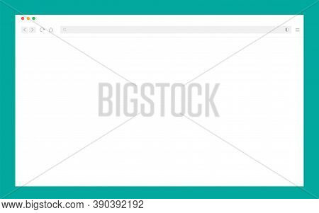 Light Browser Mockup. Blank Web Page. Isolated Computer Browser Window Template. Desktop Monitor Wit