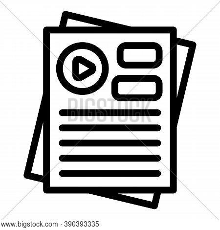 Movie Scenario Icon. Outline Movie Scenario Vector Icon For Web Design Isolated On White Background