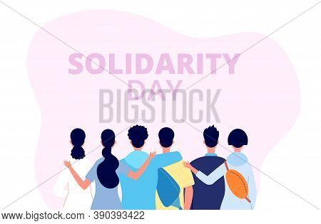 Solidarity Day Banner. International Friends Fest, Diverse People Group Hug. Human Community, Cultur