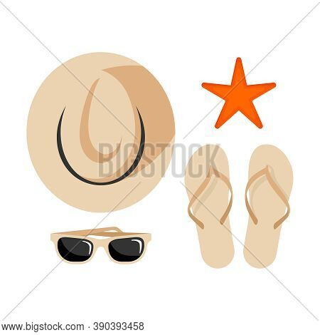 Summer Vacation Top View -  Traveler Accessories On White Background - Hat, Sunglasses, Starfish And