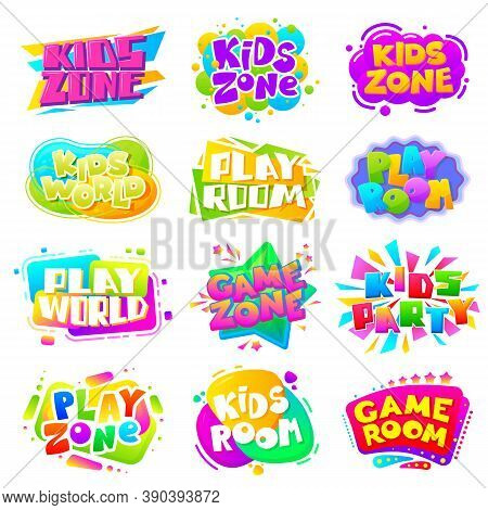 Kids Zone Labels. Fun Kid Game Logo, Sports Party Gaming Sign. Play Room Children Entertainment Bann