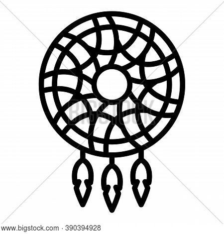 Mystery Dream Catcher Icon. Outline Mystery Dream Catcher Vector Icon For Web Design Isolated On Whi