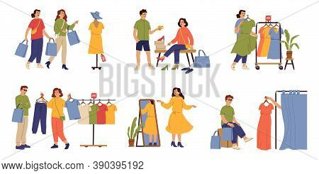 Customers In Boutique. Inside Fashion Store, Young Woman Buy Dress Clothes. People Choosing Apparel,