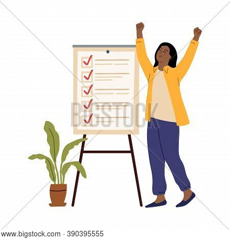 Business Woman Checklist. Success Girl, Office Working Board With Tasks. Young Entrepreneur Goal Or