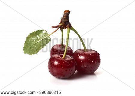 Image Cherries On A White Background. Cherries With Drops Isolated On White Background