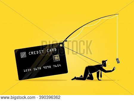 An Illustration Of An Exhausted Businessman Trying To Reach A Dollar Bill Bait