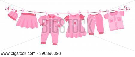 Girl Newborn Clothes. Cute Pink Dress, Hat Pants Drying On Clothesline. Isolated Cartoon Apparel For