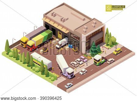 Vector Isometric Warehouse Building. Warehouse Building Exterior. Industrial Facility. Office, Loadi