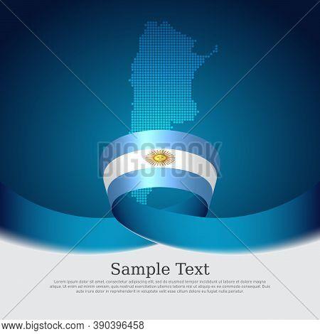 Argentina Flag Background. Mosaic Map, Argentina Flag On A Blue White Background. National Poster. V