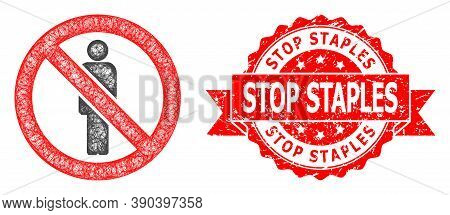 Wire Frame Forbidden Man Icon, And Stop Staples Textured Ribbon Seal Imitation. Red Stamp Seal Has S