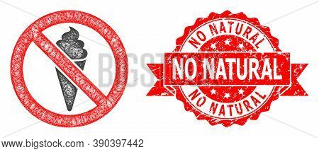 Net Forbidden Ice Cream Icon, And No Natural Grunge Ribbon Seal. Red Stamp Seal Contains No Natural