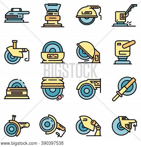 Grinding Machine Icons Set. Outline Set Of Grinding Machine Vector Icons Thin Line Color Flat On Whi