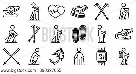 Nordic Walking Icons Set. Outline Set Of Nordic Walking Vector Icons For Web Design Isolated On Whit