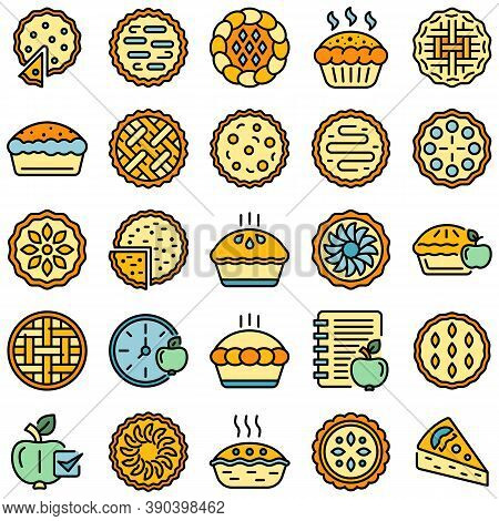 Apple Pie Icons Set. Outline Set Of Apple Pie Vector Icons Thin Line Color Flat On White