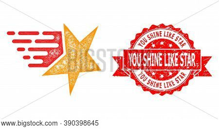 Wire Frame Star Icon, And You Shine Like Star Dirty Ribbon Stamp. Red Stamp Has You Shine Like Star