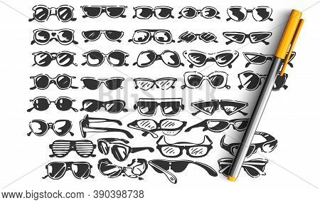 Glasses Doodle Set. Colection Of Hand Drawn Sketches Templates Patterns Of Optician Objects Stylish