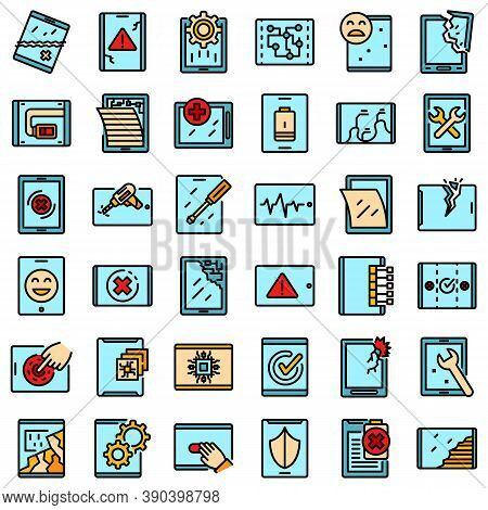 Tablet Repair Icons Set. Outline Set Of Tablet Repair Vector Icons Thin Line Color Flat On White