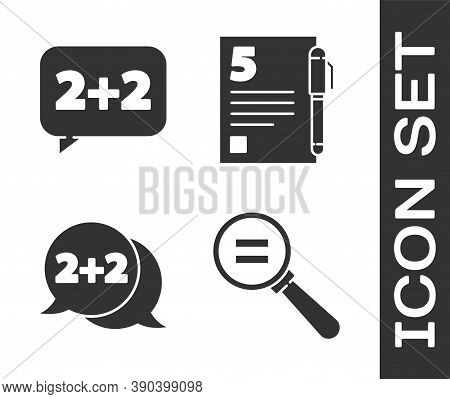 Set Calculation, Equation Solution, Equation Solution And Test Or Exam Sheet And Pen Icon. Vector