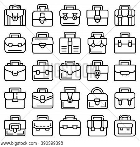 Briefcase Icons Set. Outline Set Of Briefcase Vector Icons For Web Design Isolated On White Backgrou