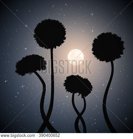 Landscape With Dandelions On Moonlight Night. Dark Mysterious Background With Full Moon In Starry Sk