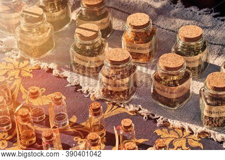 Glass Jars With Seasoning And Label, Retro. Pepper, Cumin, Turmeric And Other Seasonings For Food, L