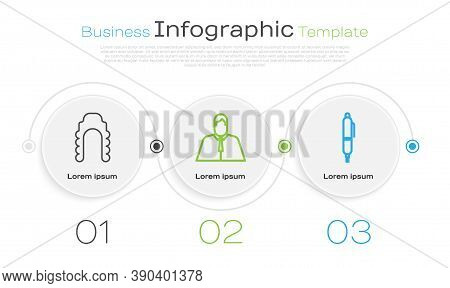 Set Line Judge Wig, Lawyer, Attorney, Jurist And Pen. Business Infographic Template. Vector
