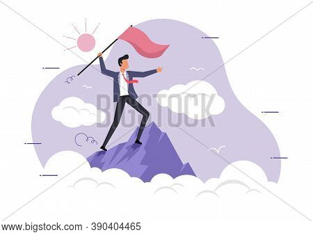 An Illustration Of A Businessman Holding A Flag On Top Of The Mountain