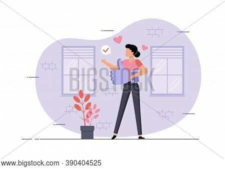 An Illustration Of A Woman Holding A Big Like Symbol