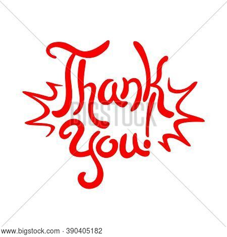Thank You Hand-drawn Lettering With  Comic Explosion Waves - Isolated Calligraphic Element For Grati