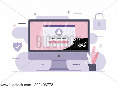 An Illustration Of Phishing Scam, Hacker Attack On Desktop Computer. Attack Hacker To Data, Phishing
