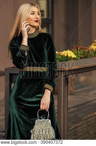 Confident In Her Choice. Sexy Businesswoman Speak On Phone Outdoor. Modern Life. Girl Gem Stone Hand