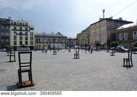 Krakow / Poland / July 1 2010 : Poignant Memorial To Jews From The Krakow Ghetto. Each Steel Chair R